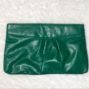 Green Clutch Faux Leather Vintage